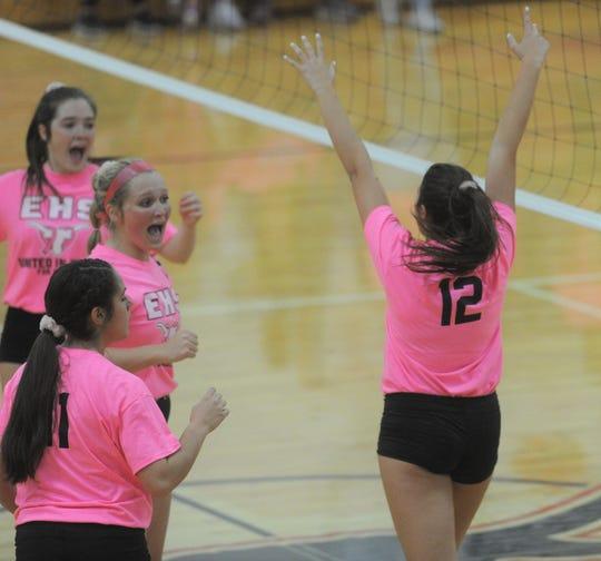 Eastland senior Hannah Jordan (12) raises her hands in celebration of a point against Early on Tuesday at Eastland High School.