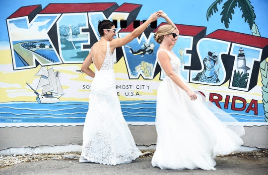 Megan and Stephanie Miller of Rockledge got married in 2018 in Key West. Megan didn't tell her co-workers she was in a same-sex relationship for eight years.