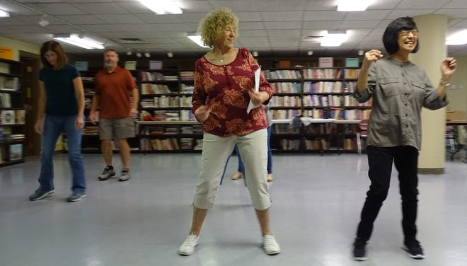 Peggy McBride, center, leads a line dancing class on Monday at the Bucyrus Public Library. She's joined, from left, by Cassie Powers, Bob Powers and Joyce Sanders. Classes are offered at 9 a.m. Monday, 6 p.m. Tuesday and 4 p.m Thursday.