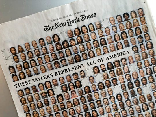 The front page of a special section in the Sunday, Oct. 13, 2019, edition of The New York Times. The photo section sought to represent what U.S. registered voters looked like.  Sharon Moore, of St. Johnsbury, was the only person included for Vermont.