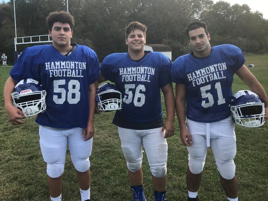 Hammonton linemen (left to right) Johnny Scibilia, Michael Dogostino and Brock Beebe have reaped the benefits of being thrown into action last season
