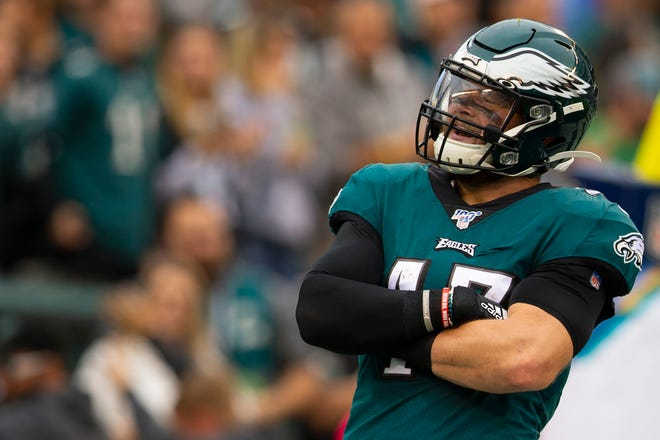 Eagles linebacker Nate Gerry reacts after intercepting a pass and running it in for a touchdown during a game earlier this season.