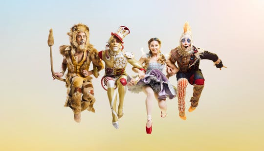 "The four leading roles in Cincinnati Ballet's production of ""The Wizard of Oz"" are played by, from left, Michael Mengden (Lion), Taylor Carrasco (Tin Man), Dorothy (Melissa Gelfin) and Cervilio Miguel Amador (Scarecrow)."