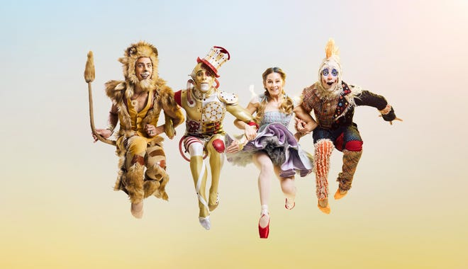 """The four leading roles in Cincinnati Ballet's production of """"The Wizard of Oz"""" are played by, from left, Michael Mengden (Lion), Taylor Carrasco (Tin Man), Dorothy (Melissa Gelfin) and Cervilio Miguel Amador (Scarecrow)."""
