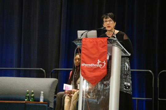Shared Hope International founder and president Linda Smith addresses attendees of the Juvenile Sex Trafficking (JuST) Conference in Cincinnati on Tuesday, Oct. 16, 2019.