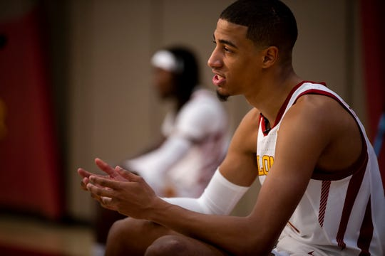 Iowa State sophomore guard Tyrese Haliburton talks to a reporter during media day for Iowa State mens basketball on Wednesday, Oct. 16, 2019 in Ames.