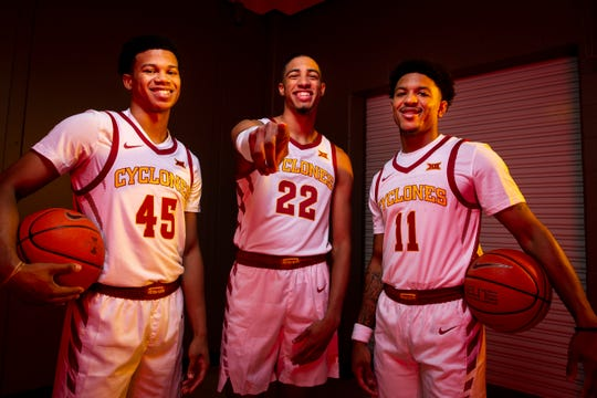 From left, Iowa State's Rasir Bolton, Tyrese Haliburton, and Prentiss Nixon pose for a photo during media day for Iowa State mens basketball on Wednesday, Oct. 16, 2019 in Ames.