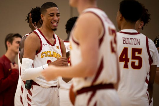 Iowa State sophomore guard Tyrese Haliburton jokes with teammates during media day for Iowa State mens basketball on Wednesday, Oct. 16, 2019 in Ames.