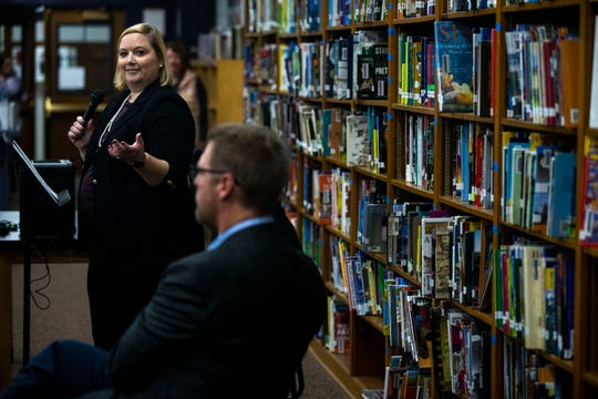 Emily Westergaard, By Degrees CEO, talks about the By Degrees foundation starting college savings accounts for students at Harding Middle School on Wednesday, Oct. 16, 2019, in Des Moines.