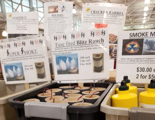 Smoke bombs for sale at a gun show. U.S. Senate candidate Eddie Mauro has complained the items are inappropriate for sale at the Iowa State Fairgrounds.