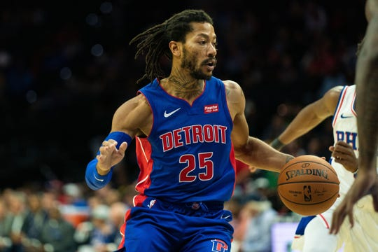 Detroit Pistons guard Derrick Rose dribbles against the Philadelphia 76ers during the first quarter of a preseason game Tuesday, Oct. 15, 2019, in Philadelphia.