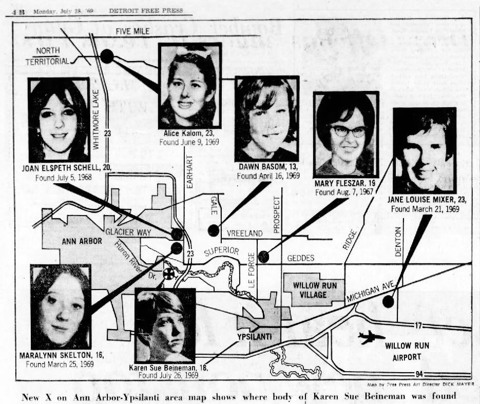 Map of murder scenes published by the Detroit Free Press in July of 1969.