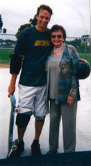 Tony Hawk and his mother, Nancy Hawk, pose together in this undated family photo. Nancy Hawk, now 94, has Alzheimer's disease, and her son will be in Detroit in October to speak about the personal toll it has taken at a fund-raising gala for the Alzheimer's Association - Greater Michigan Chapter.