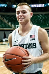 Michigan State's Steven Izzo, son of coach Tom Izzo, during media day Oct. 15, 2019, in East Lansing.