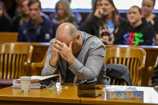 William C. Amadeo, lawyer for the family of Bobby Reyes, puts his head down as Judge David Swartz, of Washtenaw County Courthouse, dismisses the the Bobby Reyes vs. University of Michigan C.S. Mott Children's Hospital for lack of jurisdiction on Tuesday, Oct. 15, 2019.