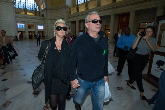 Charlotte Charles, left, mother of British teenager Harry Dunn, and husband Bruce Charles at Union Station, Tuesday, Oct. 15, 2019. The family of a British teen killed in a car crash was headed to the White House on Tuesday. There, they said, was the woman they believe was driving the car that struck their son.