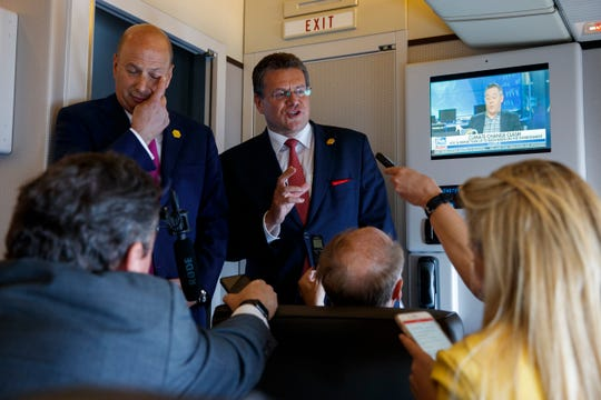 US Ambassador to the European Union Gordon Sondland, left, and European Union Vice President Maros Sefcovic speak with reporters about trade as they travel with President Donald Trump, Tuesday, May 14, 2019, aboard Air Force One.