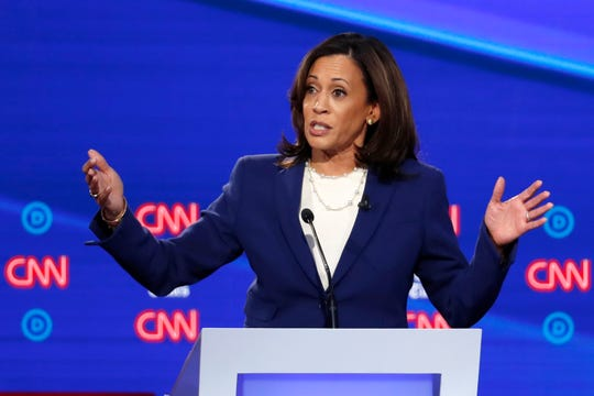Democratic presidential candidate Sen. Kamala Harris, D-Calif., speaks in a Democratic presidential primary debate hosted by CNN/New York Times at Otterbein University, Tuesday, Oct. 15, 2019, in Westerville, Ohio.