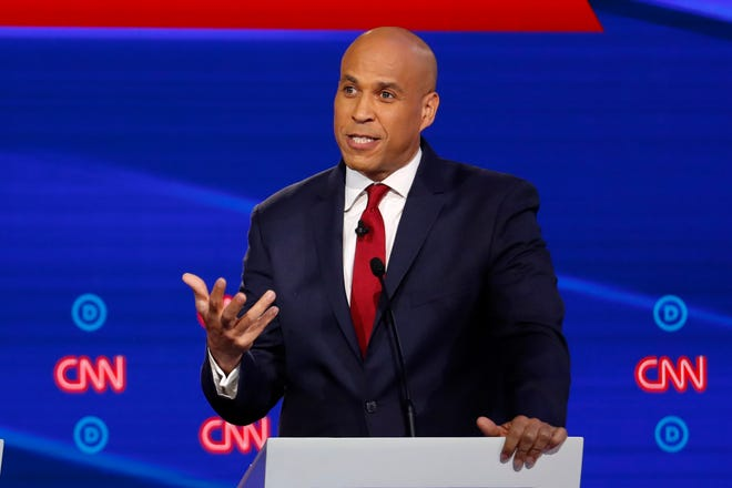 Democratic presidential candidate Sen. Cory Booker, D-N.J., speaks during a Democratic presidential primary debate hosted by CNN/New York Times at Otterbein University, Tuesday, Oct. 15, 2019, in Westerville, Ohio.