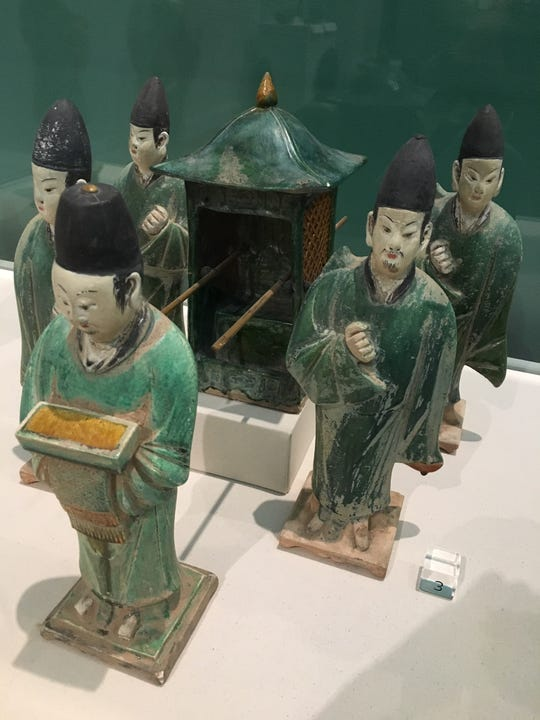 "Ming dynasty ""Five attendants and sedan chair"" in ""Copies and Invention in East Asia"" at the University of Michigan Museum of Art"