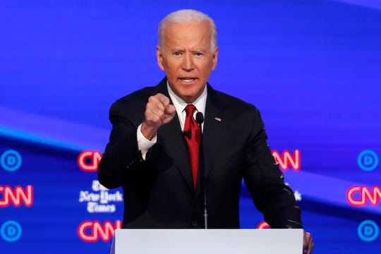 Democratic presidential candidate former Vice President Joe Biden speaks during a Democratic presidential primary debate hosted by CNN/New York Times at Otterbein University, Tuesday, Oct. 15, 2019, in Westerville, Ohio.