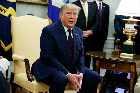 President Donald Trump speaks during a meeting with Italian President Sergio Mattarella in the Oval Office of the White House, Wednesday, Oct. 16, 2019, in Washington.