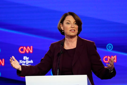 Democratic presidential candidate Sen. Amy Klobuchar, D-Minn., participates in a Democratic presidential primary debate hosted by CNN/New York Times at Otterbein University, Tuesday, Oct. 15, 2019, in Westerville, Ohio.