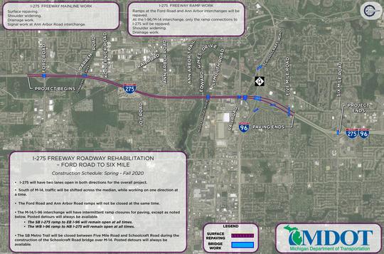 MDOT I-275 roadway  rehabilitation - Ford Road to Six Mile Road.