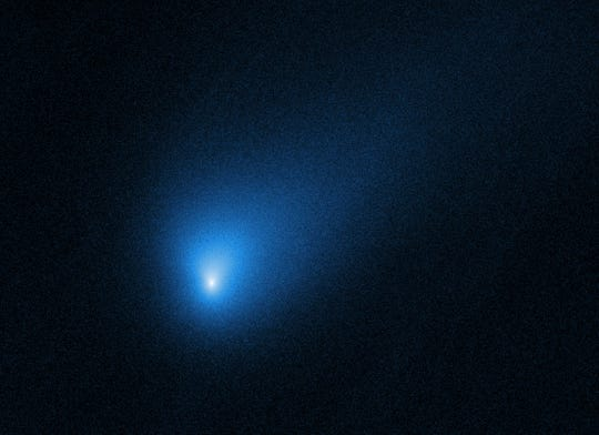 The comet 2I/Borisov, seen by the Hubble Space Telescope. It's the second known interstellar visitor to swoop through our backyard. An amateur astronomer from Crimea, Gennady Borisov, discovered the comet in August, two years after the first alien guest, a cigar-shaped rock, popped up.
