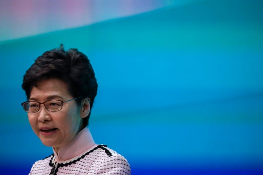 Hong Kong Chief Executive Carrie Lam speaks during a press conference at the Legislative Council in Hong Kong Wednesday, Oct. 16, 2019.