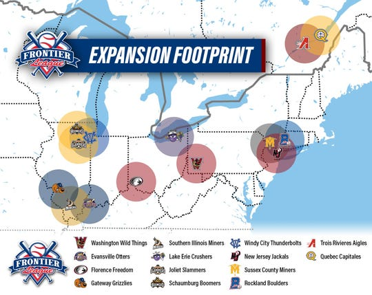 Map of the new Frontier League.