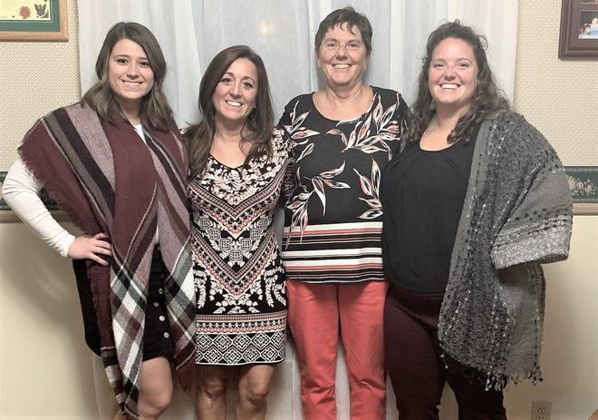From left are Kaylie Hallett-Szymanski, Marnie Hallett-Szymanski, Kay Hallett and Kaycee Hallett, part of a five-generation teaching legacy.