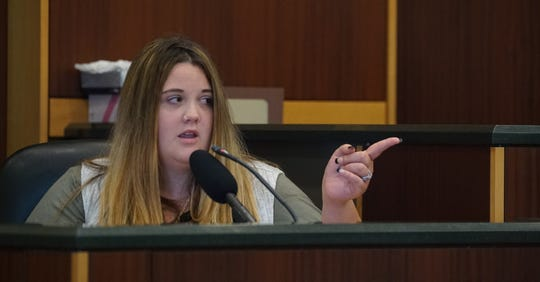 Taylor Shomaker, Jimmy Rodgers' ex-girlfriend, points and identifies the defendant as Rodgers during her testimony at Wednesday, October 16, 2019, at the Lee County Justice Center in Fort Myers. Rodgers is on trial for the murder of Teresa Sievers.