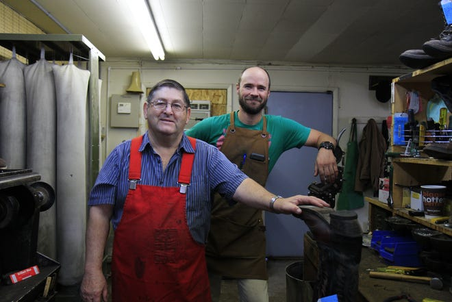 Dennis Siller and Tom Barrett pictured in Siller's Boot and Shoe Repair.