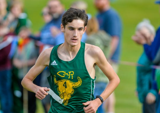 CMR's Connor O'Hara finishes first in the boys race during the crosstown cross country meet at Anaconda Hills Golf Course on Tuesday.