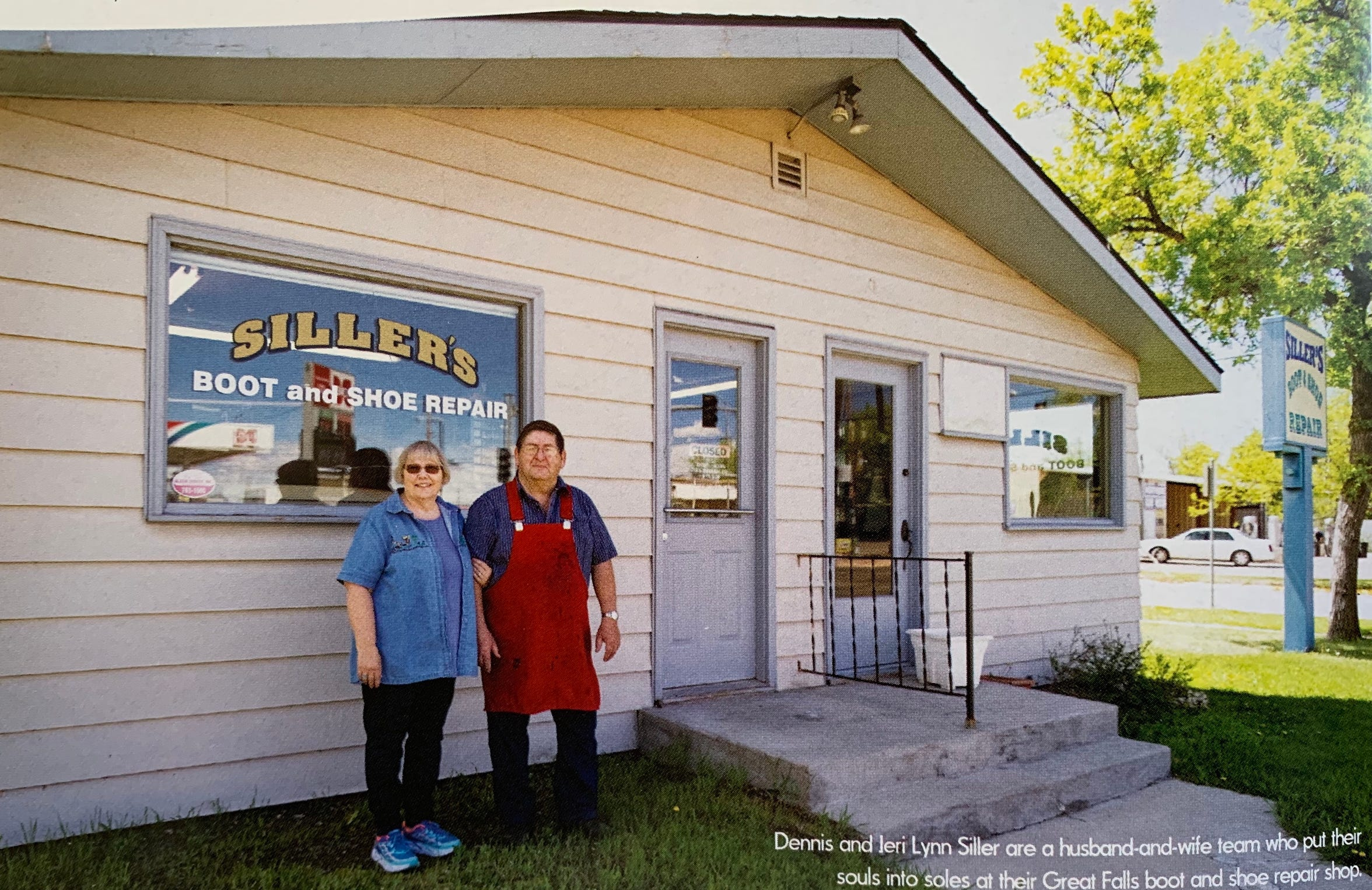 Dennis and Jeri Siller pictured outside of Siller's Boot and Shoe Repair shop.