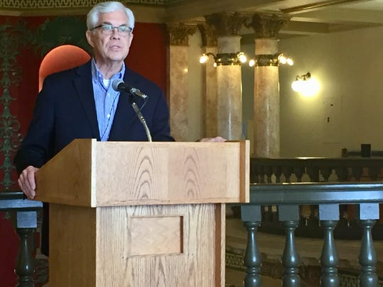 "Democratic gubernatorial candidate Mike Cooney announces his ""Big Sky People's Pledge"" Wednesday at the the state Capitol."