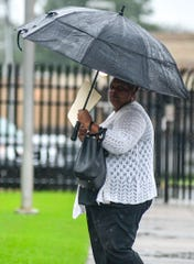 Freda Covington of Hattiesburg enters the William M. Colmer Federal Courthouse on Wednesday, Oct. 16, 2019, as she prepares to enter a guilty plea for her role in a $7.2 million fraud involving high-priced compounded weight-loss drugs and pain creams.