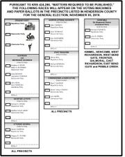 The Henderson County ballot for the Nov. 5, 2019 general election.