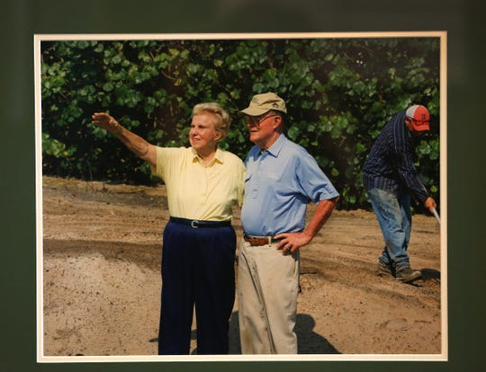 Undated photo of Alice and Pete Dye designing one of their golf courses. The Dyes designed Crooked Stick Golf Club, in Carmel, Indiana.