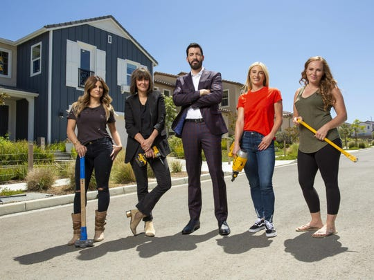 """Indianapolis home renovator Mina Starsiak Hawk, right, will compete against fellow HGTV stars on new series """"Rock the Block."""" Drew Scott, center, serves as host for the series that also stars, from left, Alison Victoria, Leanne Ford and Jasmine Roth."""