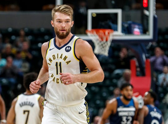 Indiana Pacers forward Domantas Sabonis (11) jogs up the court after making a three-point shot during the first half against the Minnesota Timberwolves, Tuesday, Oct. 15, 2019, Bankers Life Fieldhouse, Indianapolis. Timberwolves defeat Pacers 119-111 in preseason finale.