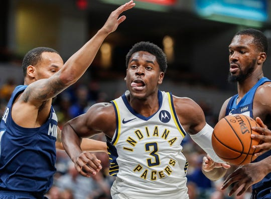 Indiana Pacers guard Aaron Holiday (3) dribbles the ball during the second half against the Minnesota Timberwolves, Tuesday, Oct. 15, 2019, Bankers Life Fieldhouse, Indianapolis. Timberwolves defeat Pacers 119-111 in preseason finale.