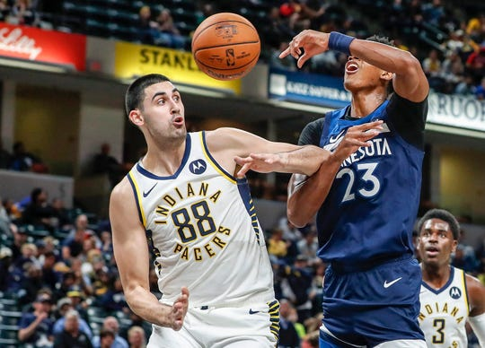 Indiana Pacers center Goga Bitadze (88) blocks Minnesota Timberwolves guard Jarrett Culver (23) attempt for a layup during the first quarter against the Minnesota Timberwolves, Tuesday, Oct. 15, 2019, Bankers Life Fieldhouse, Indianapolis.