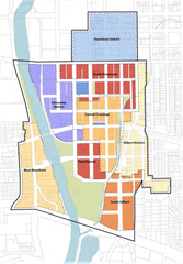 The Riverfront Crossings District is divided into subdistricts, each with their own height requirements. This diagram is taken from the District's Master Plan.