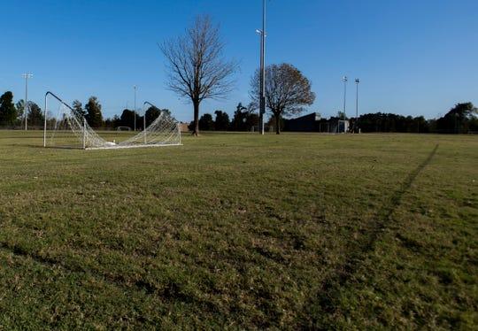 A fallen-over soccer net at Kate Campbell Robertson Park in Jackson, Tenn., Wednesday, Oct. 16, 2019.