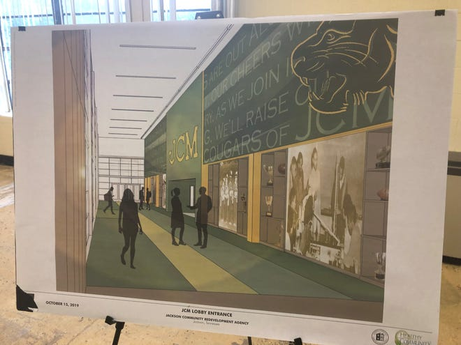 Inside the lobby is where the history installments of Merry High, Jackson High and the consolidated Jackson Central-Merry Hill will be.