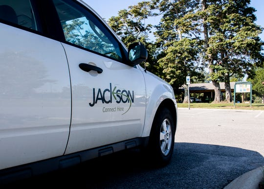 A city of Jackson car outside the Tennis Complex in Jackson, Tenn., Wednesday, Oct. 16, 2019.