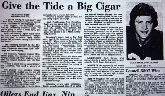 This headline ran in the Knoxville News Sentinel on Oct. 20, 1975, after Alabama rolled Tennessee 30-7 in Birmingham.
