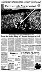 The front page of the News Sentinel on Oct. 17, 1982, documented Tennessee's 35-28 victory over Alabama to snap an 11-game losing streak in the rivalry series.
